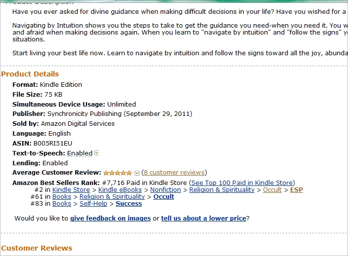 Navigating by Intuiton a top 100 paid kindle book on Amazon